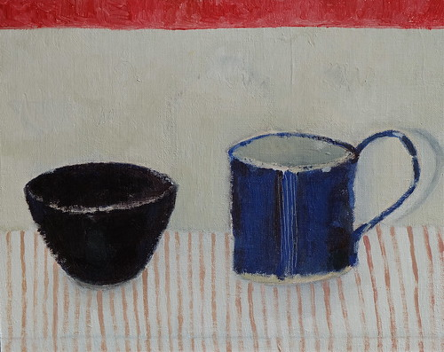 still life with blue cup