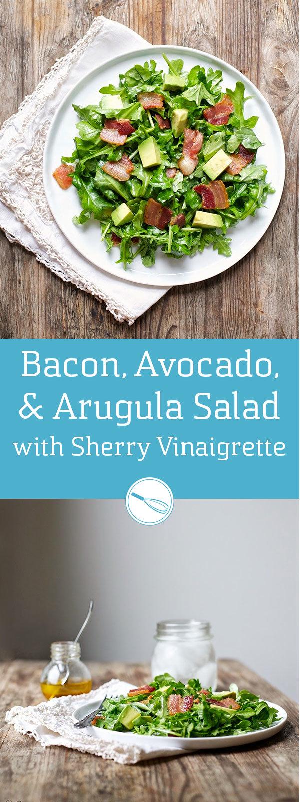 Bacon, Avocado, & Arugula Salad (Gluten free, Paleo)