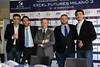 La presentazione del primo Excel Futures Milano 3: da sinistra, il direttore tecnico Stefano Pescosolido, il presidente dello Sporting Alex Stilo, il direttore generale Daniel Degli Esposti, il direttore dell'area tennis Dino Scaggiante e il direttore del torneo Itf Marco Crugnola.