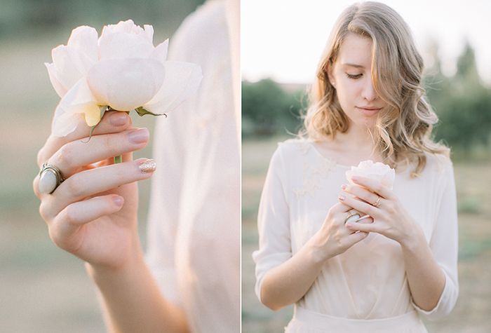 Muted Tones and blush wedding gown for An Ethereal Countryside Wedding Styled Shoot
