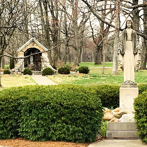 Grotto and #Mary #statue @spsmw #Spring #catholic at the Woods #indiana