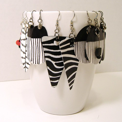 Black, White and Red Paper Earrings by Lee Owenby