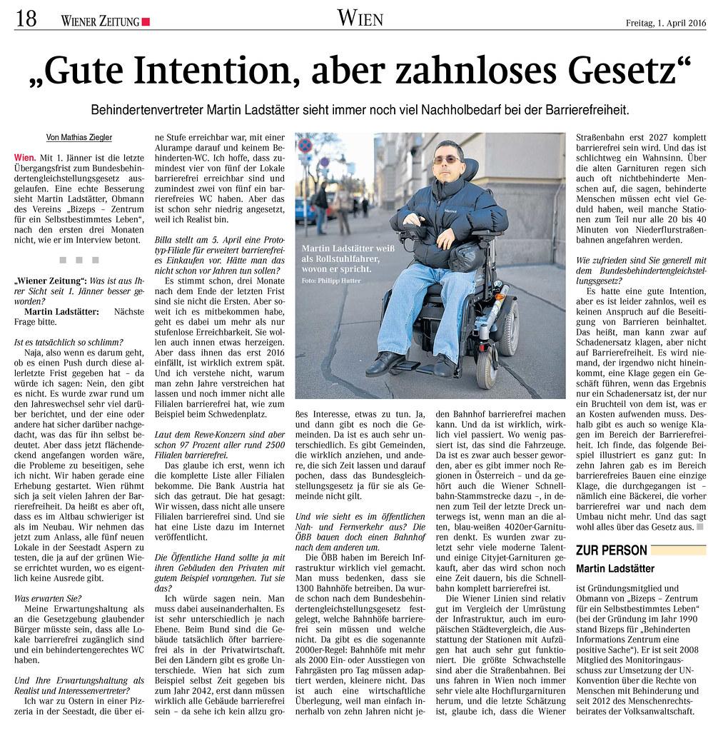 """Wiener Zeitung: """"Gute Intention, aber zahnloses Gesetz"""""""