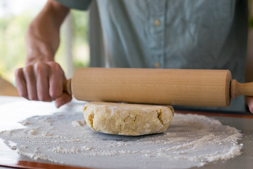 rolling out the pie dough