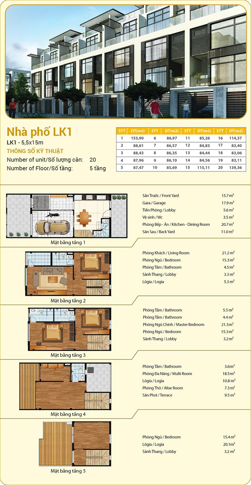 Mẫu thiết kế nhà liền kề LK1 dự án Hà Đô 756 Sài Gòn