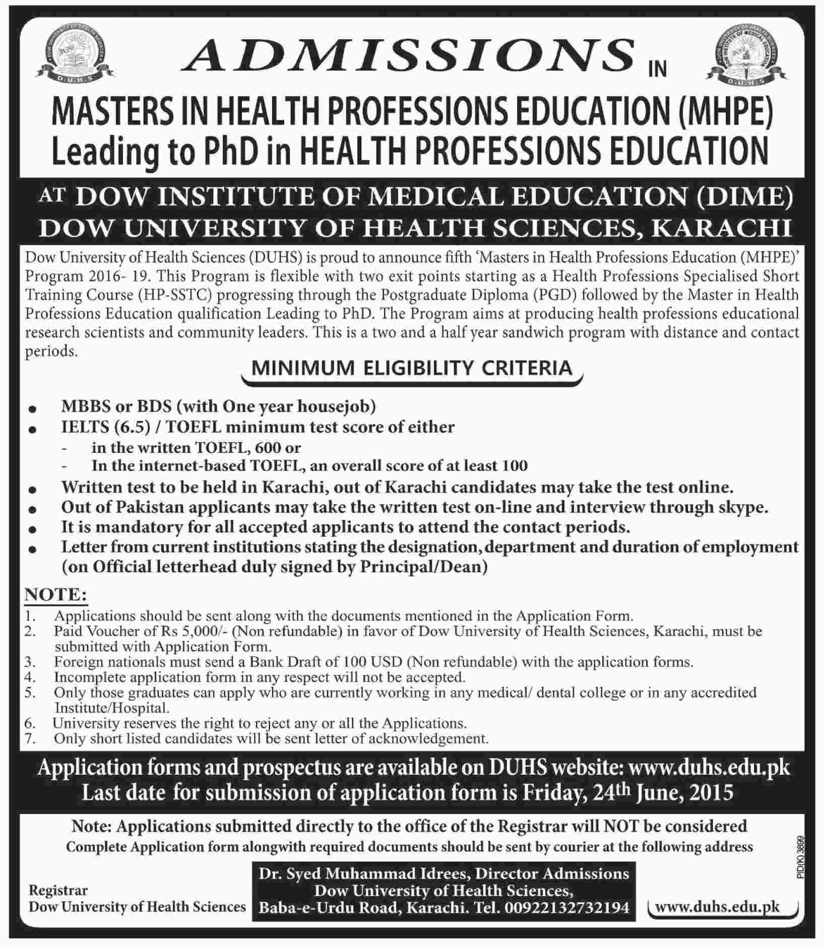 DOW University of Health Sciences Admissions 2016