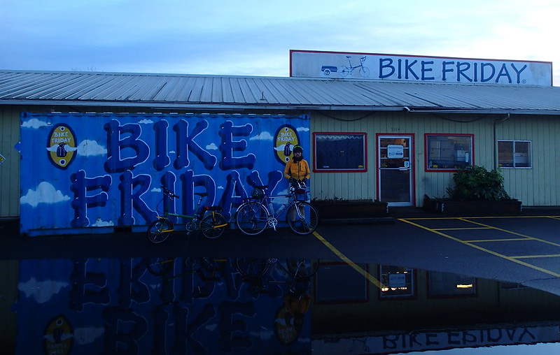 "Neil at Bike Friday Headquarters: Kent showed me his commute along the Fern Ridge Trail.  The pool of water here forms fairly regularly, and the Bike Friday employees jokingly call it ""Lake Friday.""  Photo by Kent Peterson."