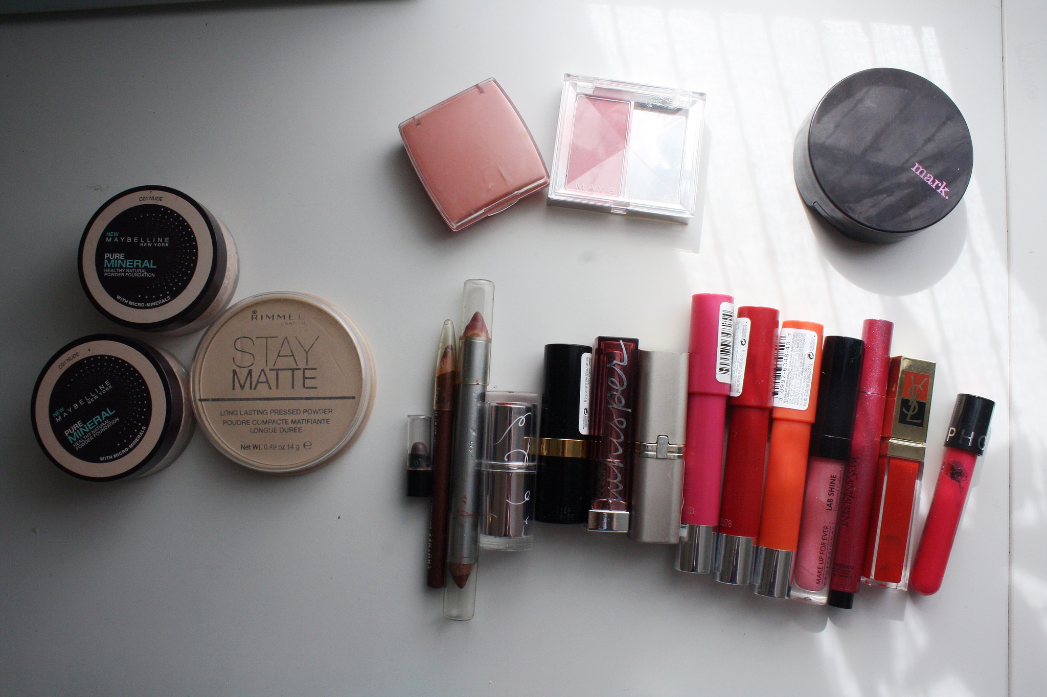 Maybelline powder Rimmel L'Oreal blush Avon Mark bronzer Revlon Kissable balm Make Up For Ever gloss YSL Yves Saint Laurent gloss Etude House Revlon Lust For Blush Clinique Chubby Stick Bonne Bell Lip Definer Olay lipstick