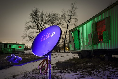 Notley Hawkins Photography, Columbia MO Photo, Night Photography, Satellite Dish, Ed's Trailer Park, Light Painting