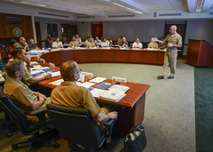 Adm. Scott Swift, commander of U.S. Pacific Fleet, briefs flag officers during the 10th annual Naval War College Combined Force Maritime Component Commander Flag Officer Course. (U.S. Navy/MC2 Brian Wilbur)
