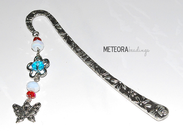 Bookmark - red, white and blue beads, with silver flower and butterfly charm