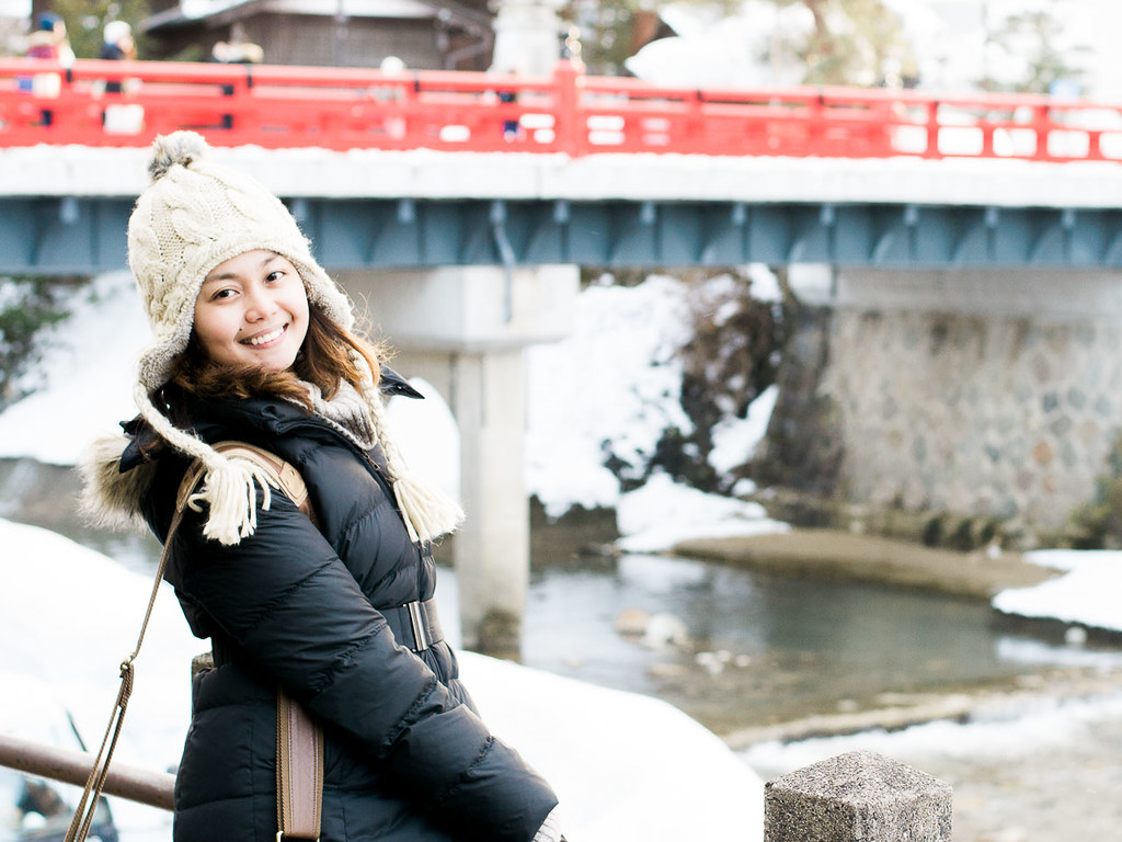 The famous red bridge of Takayama