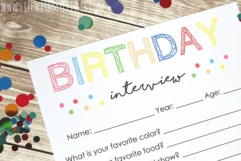 This free birthday interview printable is such a great birthday tradition for kids! It will be fun to see how the answers change every year!