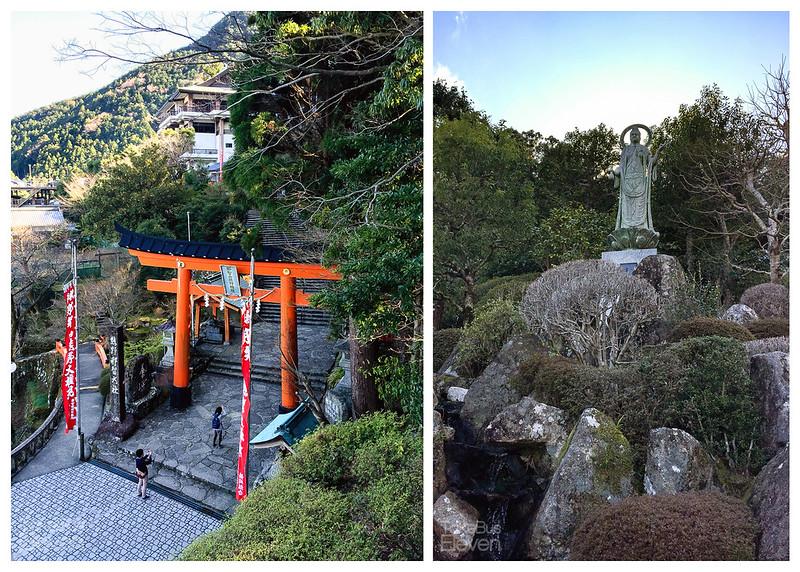 kumano nachi gate and statue