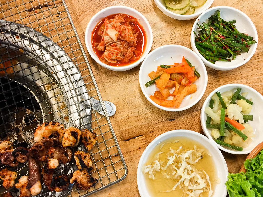 Grilled Baby Octopus with the BBQ Side Dishes