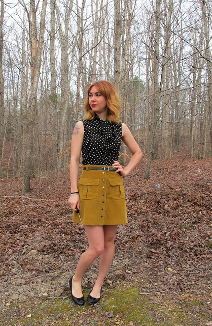 Silk Top & Corduroy Mini Skirt