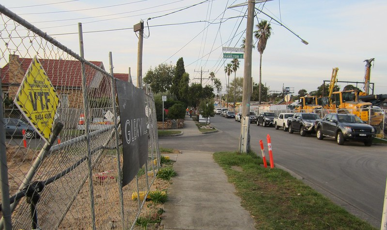 Nicholson Street, Bentleigh during level crossing removal works