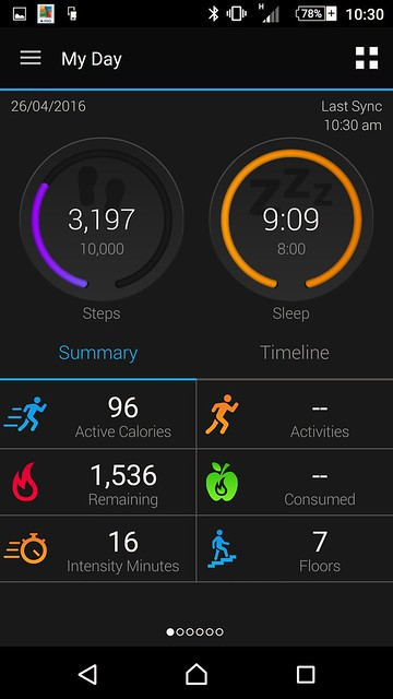Garmin Vivosmart HR review App Screenshot