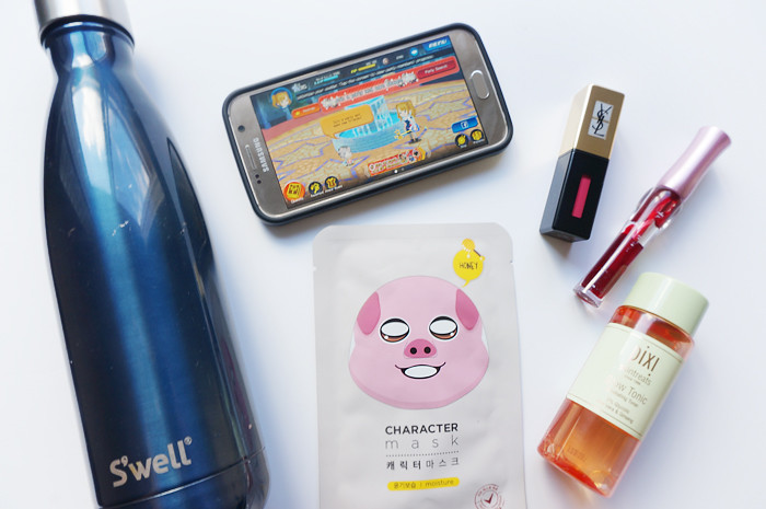 bespectacled, beauty, games, things I like, Kingdom Hearts Unchained X, S'Well Water Bottle, Etude House Dear Darling Tint 02 Real Red, YSL Vernis À Lèvres Pop Water Glossy Stain 204 Onde Rose, pixi Glow Tonic