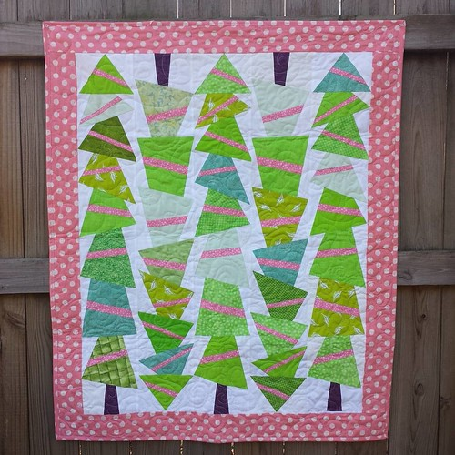 "First #finish of 2016 for #TheLinusConnection. The pattern is Topsy Turvy Trees, available in my pattern shop. This top has been on my ""to quilt"" list since 2012. #ufo2016 #charityquilt #quiltforgood"
