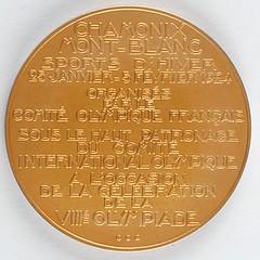 Chamonix 1924 Winter Olympics Gold Winner's Medal reverse