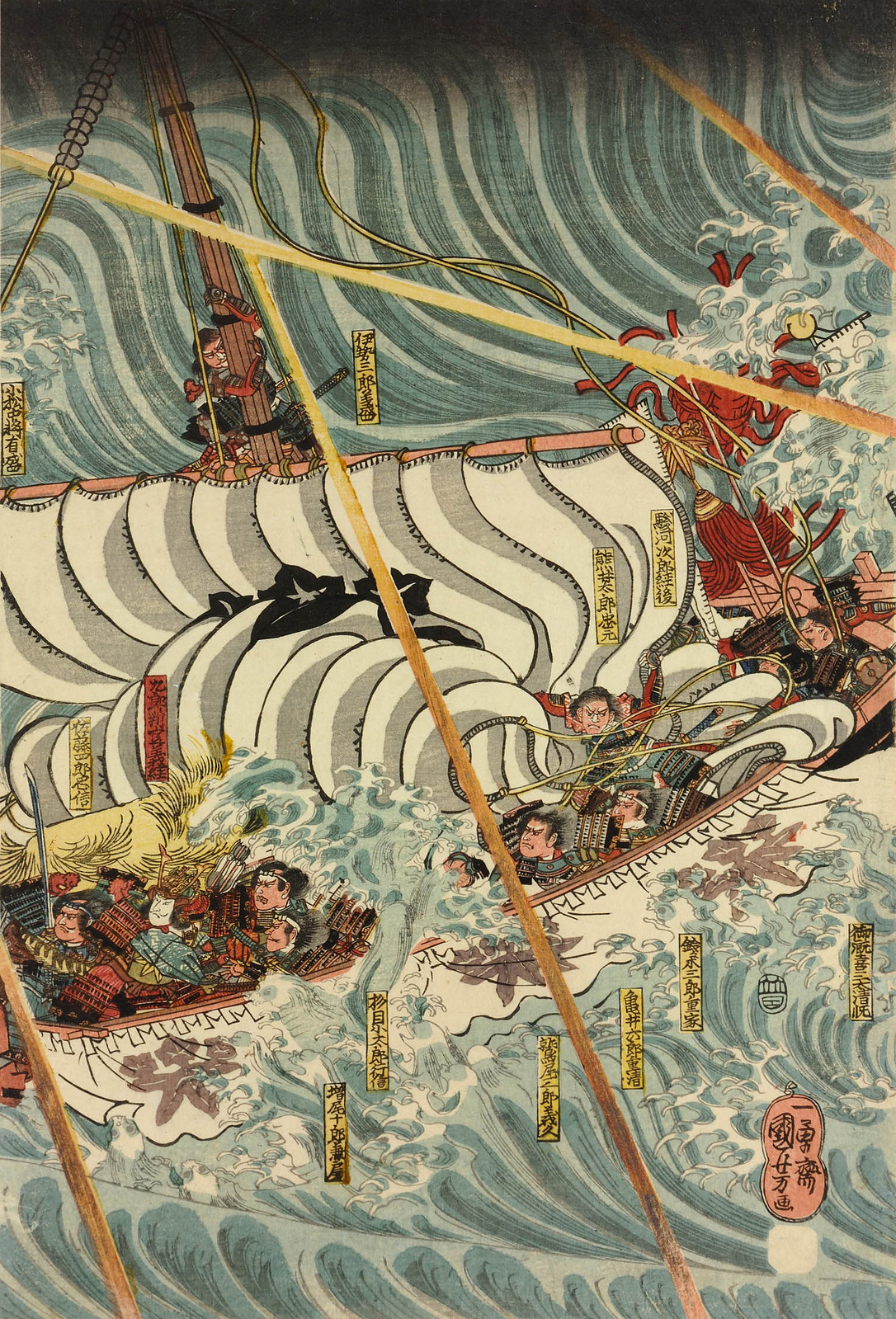 Utagawa Kuniyoshi - The Taira ghosts arising from the sea (left) to attack Yoshitsune's ship (centre), with some warriors in the water, 19th C (middle panel)