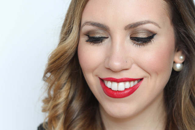 Gold Eye Makeup | Cherry Red Lip | Valentine's Day Look