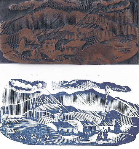 Wood engraving by Elizabeth Rivers showing several women walking in front of three homes with mountains in the background..