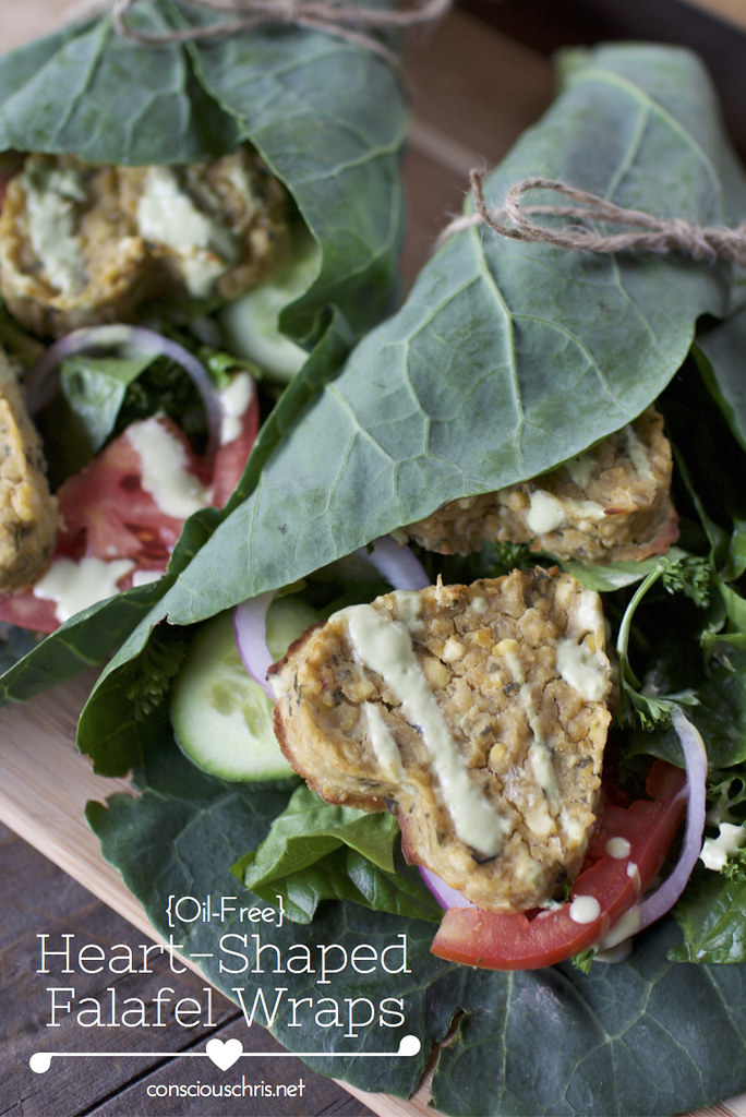 Heart Shaped Falafel Wraps - Vegan Valentine's Day Menu (oil-free) Consciouschris.net