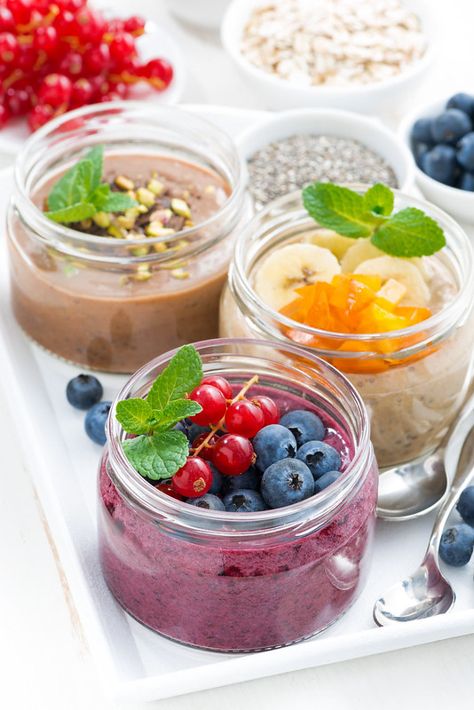 fruit puddings with chia seeds