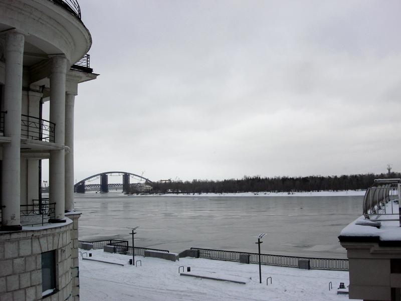 Kiev winter Dnipro river