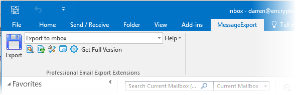 "Screen shot showing the MessageExport toolbar in Outlook 2016 with the ""MBOX"" export format selected."