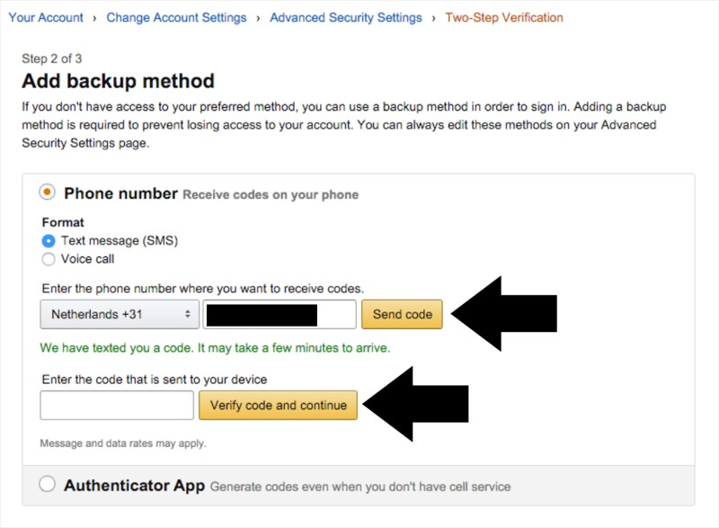 How to enable Two-Step Verification on your Amazon's account