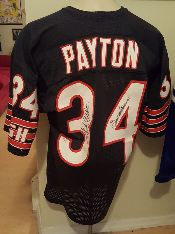 I collect Mitchell and Ness signed jerseys as well as issued worn examples.  Beyond showing off my own I would love to see others collections! Walter  Payton ... e42210544