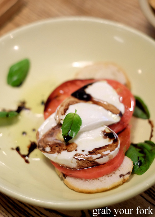 Mozzarella, ox heart tomato, crostini, basil and balsamic at Casoni, Darlinghurst