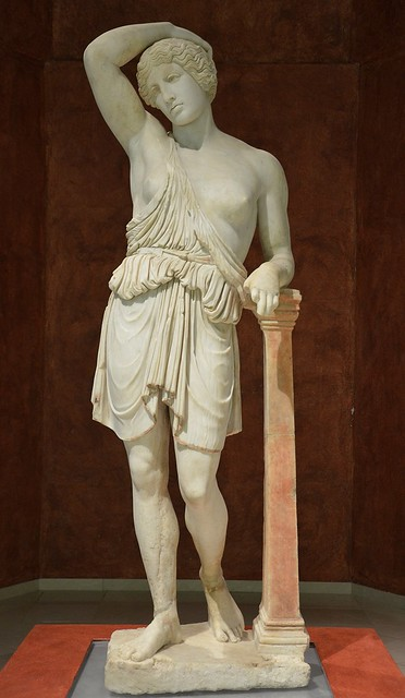 Marble statue of a wounded Amazon, discovered during excavations in Plaza de Espana in Ecija, 2nd century AD, Museo Histórico Municipal de Écija, Spain
