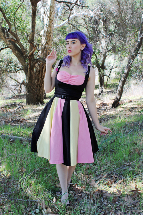 Pinup Girl Clothing Pinup Couture Just Desserts Dress in Black with Pink and Yellow Deer Arrow Tiny Dancer Brooch