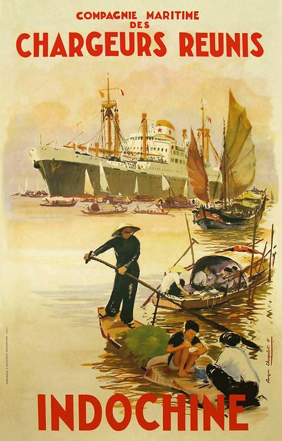 1952 - Poster quảng cáo của Hãng tàu biển Chargeurs Réunis (hãng tàu Năm Sao)