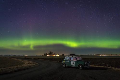 Green car, green sky
