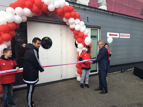 100mm Rood Wit lint met Zwart bedrukt Opening Feyenoord Campus