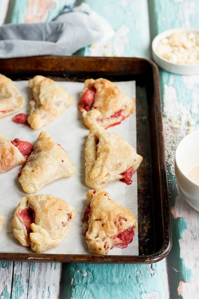 Strawberry Chia Turnovers // Maple Tahini Drizzle