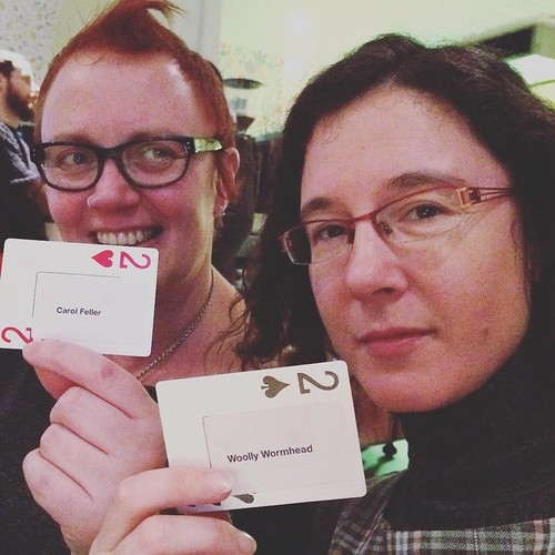 A fun moment from the #edinburghyarnfestival kickoff night when @woollywormhead and @feller.carol held up cards from my homemade #cardsagainsthumanity set. We played later in the weekend and @sara_trucraft of @smudgeyarns won.