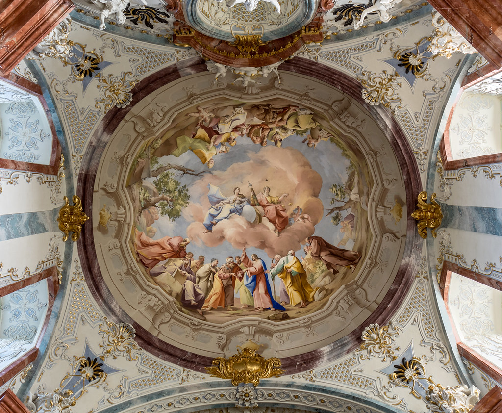 Fresco of the north dome at the library of Altenburg Abbey (Lower Austria) by Paul Troger (1742) Theology and Jurisprudence. Credit Uoaei1