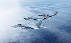 An F/A-18E Super Hornet from Strike Fighter Squadron (VFA) 195 operates with Japan Air Self-Defense Force Phantom II's during a weeklong Benkyoukai exercise. (U.S. Navy/Cmdr. Ryan Jackson)