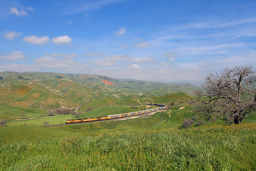 california ca railroad green up grass train tunnel unionpacific locomotive caliente emd tehachapipass sd70ace bealville vehicletrain
