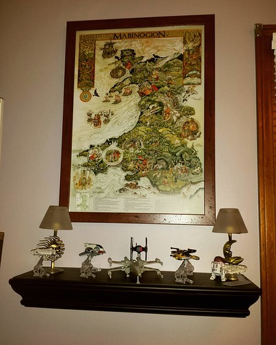 It's MY personal library and if I want a shelf of Star Wars ships right below my framed poster of Welsh mythology, that's what I'm gonna have! #starwars #poster #art #mabinogion