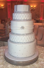 7Tier.Rolled Fondant. Doubled. Silver Pearls.Quilted.Doubled & Wrapped w Brooch. Quilted Silver. Rolled Fondant Stripes.Faux Crystals