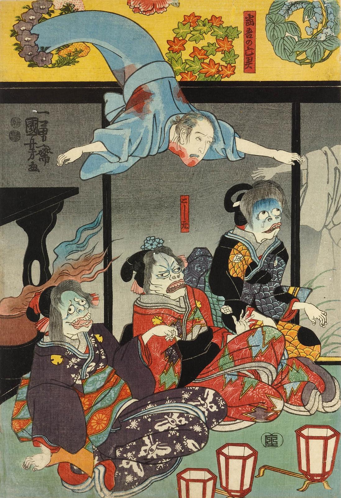 Utagawa Kuniyoshi - Orikoshi Masatomo (centre) (played by Bando Hikosaburo IV) is attacked by the ghost of Asakura Togo 1853 (left panel)
