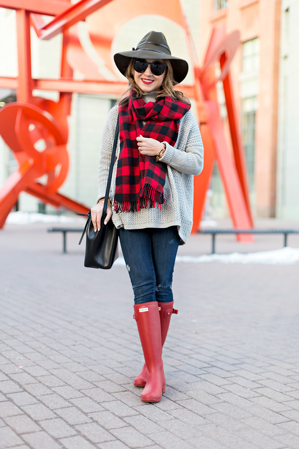 Buffalo check + Hunter boots