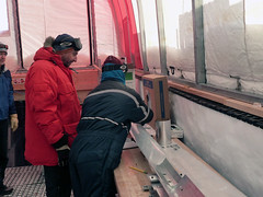 Eric Steig and Emma Kahle pack the last meter of ice (1750-1751 meters depth)